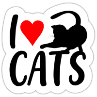 Autocolant I love cats