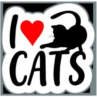 Autocolant I love cats