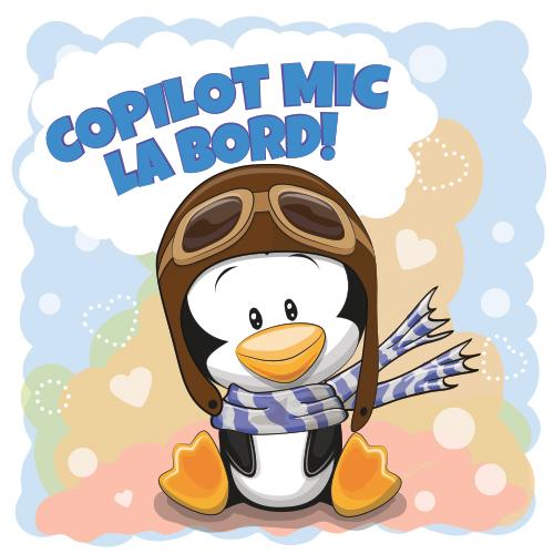 Autocolant Copilot la bord (cu Pinguin)