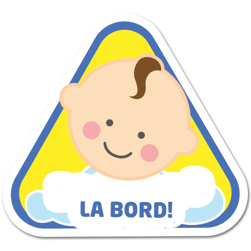 Autocolant auto Bebe la bord (baietel) - cu numele lui