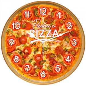Ceas Pizza cu text personalizat