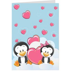 Felicitare Pinguini si inimioare