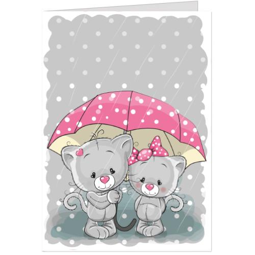 Felicitare Pisicute sub umbrela