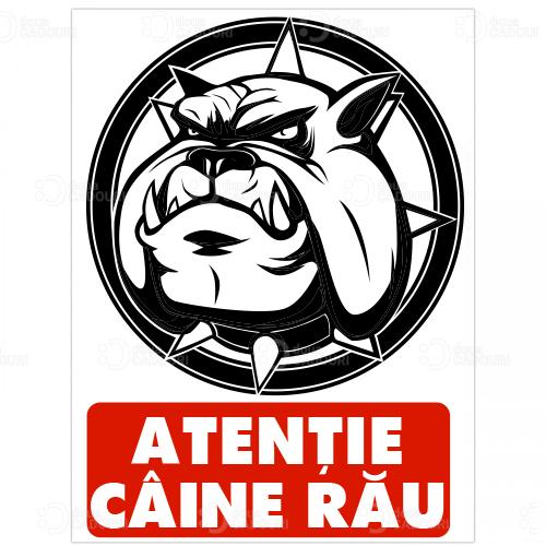 Indicator Atentie caine rau - bulldog
