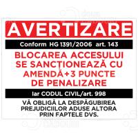 Autocolant Avertizare - Blocarea accesului