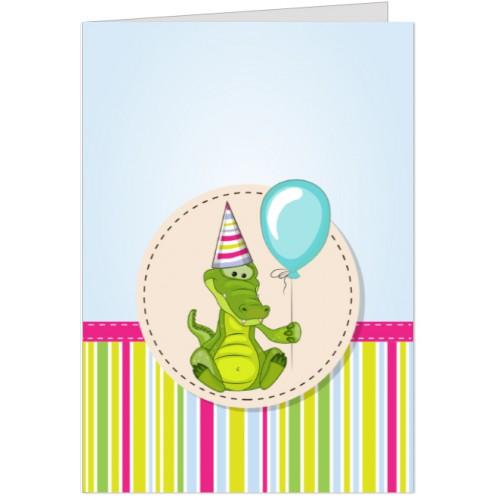 Felicitare Crocodil cu balon