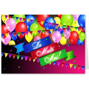 La multi ani cu baloane si confetti
