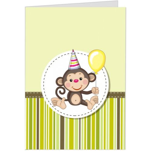 Felicitare Maimutica cu balon