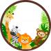 Magnet rotund cu animalute din jungla