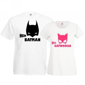 Tricouri pentru cuplu Catwoman - Batman masti