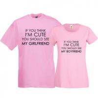 Tricouri pentru cuplu Think I'm cute
