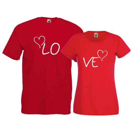 Tricouri pentru cuplu Love - inimioare