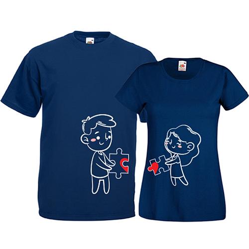 Tricouri pentru cuplu Puzzle inima