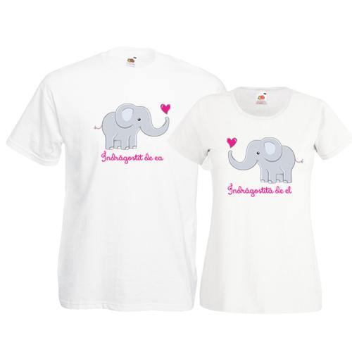 Tricouri pentru cuplu Elefantei indragostiti