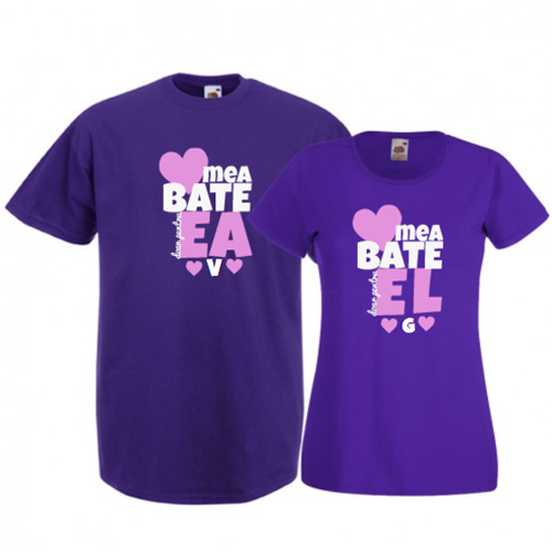 Tricouri pentru cuplu Inima mea (cu initiale)