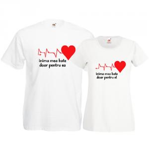 Tricouri pentru cuplu Inima mea ritm
