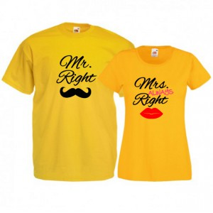 Tricouri pentru cuplu Mr. Right - Mrs. ALWAYS Right