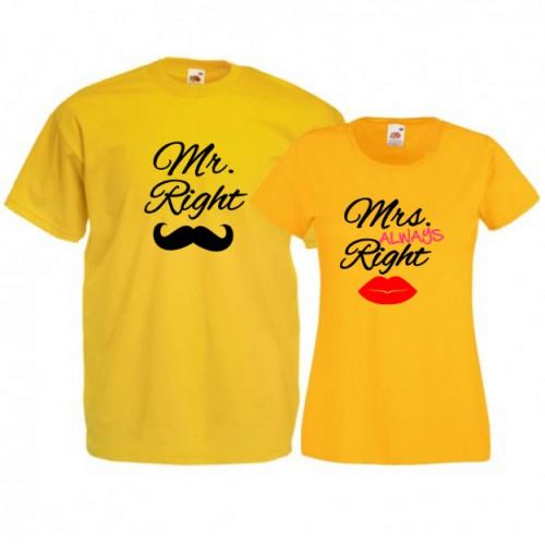 Tricouri pentru cuplu Mr. Right - Mrs. ALWAYS Right
